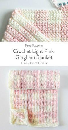 Crochet Light Pink Gingham Blanket - Free Pattern