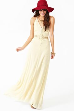 Siobhan Maxi Dress - Cream in Clothes Dresses Midi + Maxi at Nasty Gal