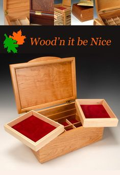 Custom made cherry jewelry box. Premium materials and fine craftsmanship will provide a lifetime of use and enjoyment. Box Maker, Jewelry Box, Jewelry Making, 5th Wedding Anniversary, Aesthetic Design, Art Fair, Wood Boxes, Wood Art, Decorative Accessories