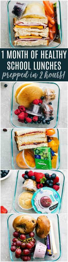 One trip to your grocery store and you can make enough healthy school lunches to last for a month! via chelseasmessyapron.com #school #lunch #meal #prep #healthy #easy #quick #ideas #prepahead #sandwich #freeze #freezersandwich #parfait #bagel #ham #cheddar #healthy #snacks