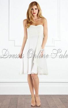 White A-line Strapless Knee-length Dress