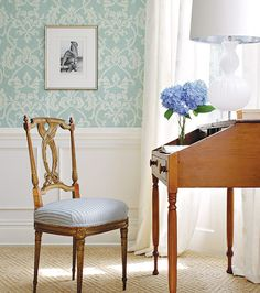 Pretty wallpaper and writing table