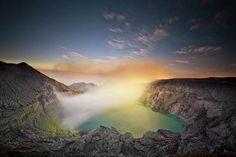 Hasil gambar untuk kawah ijen Borobudur, Bali, Waterfall, Tours, Fire, Mountains, Sunset, Nature, Painting