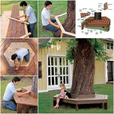 If you have a medium or big tree in your yard, have you thought about how to best use it? Maybe having barbecue under it during summer time, maybe hanging a swing etc. How about build your own custom tree bench around it? This bench will provide plenty of seating areas and a special play