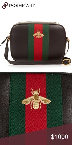 """ac893bdf81d130 Gucci """"Webby"""" Bee Crossbody 💯 Authentic Purchased directly from Gucci.  Chocolate brown leather with red/ green web and gold bee."""