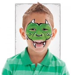 """boys: dragon/monster Sponge green face paint over the eyes, nose, cheeks, and top lip. Paint white horns and fangs on brows, cheeks, and mouth. Paint tip of nose black and draw scales on cheeks. add a black line to both sides of nose. outline """"v"""" shape between eyes and horns in black"""