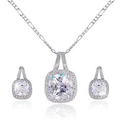 EVER FAITH® Silver-Tone Cubic Zirconia Prong Clear Square-Shape Bridal Jewelry Set *** Check this awesome image : Fashion Jewelry Wedding Necklace Set, Wedding Jewelry Sets, Infinity Necklace, Drop Necklace, Fashion Jewelry, Women Jewelry, Brass Material, Jewelry Trends, Earring Set