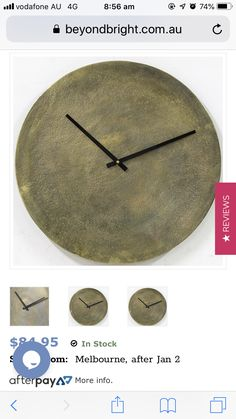 Gold Wall Clock, Gold Walls, Melbourne, How To Get, Clocks, Stuff To Buy, Lounge, Interiors, Home Decor