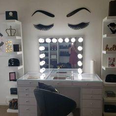 Cute Room Decor, Teen Room Decor, Room Ideas Bedroom, Bedroom Decor, Vanity Makeup Rooms, Vanity Room, Vanity Decor, Makeup Vanities, Beauty Room Decor