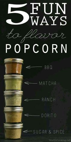 Five fun ways to flavor popcorn- yummy seasoning mixes and flavored powdered sugars to take popcorn to the next level. Popcorn Snacks, Flavored Popcorn, Popcorn Bar, Popcorn Flavours, Cheese Popcorn, Popcorn Gift, Homemade Spices, Homemade Seasonings, Homemade Popcorn Seasoning