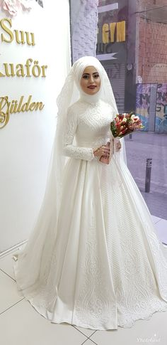 Hijab Wedding Dress You will find different rumors about the real history of the wedding dress; Muslim Wedding Gown, Muslimah Wedding Dress, Muslim Wedding Dresses, Muslim Brides, Wedding Hijab, Bridal Dresses, Bridesmaid Dresses, Bridal Hijab, Classic Wedding Dress