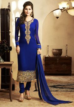 Dark Blue Faux Georgette Churidar Kameez: KTP243