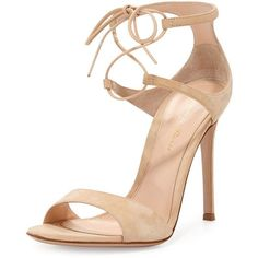 Gianvito Rossi Suede Double Ankle-Wrap Sandal ($1,050) ❤ liked on Polyvore featuring shoes, sandals, heels, high heels, sapatos, nude, strappy high heel sandals, strap sandals, ankle strap high heel sandals and nude heel sandals