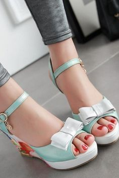 6386c1172c50f0 Wedges Women Fashion Sweet Bow High Heel Pumps Open Toe Sandals  shoes   shoesaddict