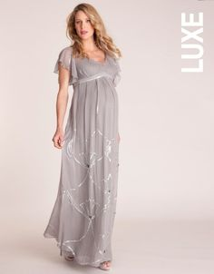 Sewing inspiration (love the little pleats spaced at the waist)  Embellished Butterfly Sleeved Maternity Gown