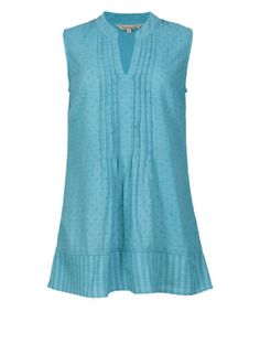 NOMADS-Blue-Cotton-Sleeveless-Mandarin-Collar-Blouse-Shirt-Fair-Trade £8.49