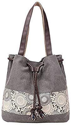 a67e4fe48f6 Amazon.com  Handbag Canvas Shoulder Bag Retro Hobo Tote Women  s Shopper