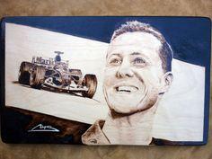 Michael Schumacher pyrography