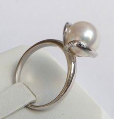 White Gold Pearl Engagement Ring Pearl Ring promise ring anniversary ring 10mm white smooth pearl by havalazar on Etsy https://www.etsy.com/listing/157105967/white-gold-pearl-engagement-ring-pearl