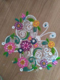 Floral design.... Diwali Diy, Rangoli Designs, Floral Design, Collections, Traditional, Inspiration, Beautiful, Biblical Inspiration, Floral Patterns