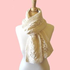 Heart Lace Knitted Scarf - Just added this pattern to my KnittingGuru Craftsy shop.