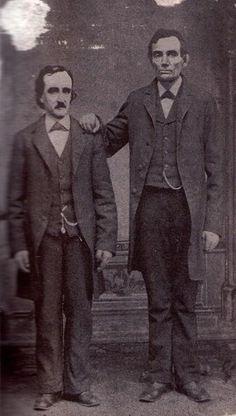 Edgar Allan Poe poses with Abraham Lincoln in Mathew Brady's Washington, D.C. studio, 1849
