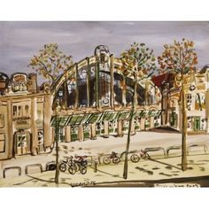 "Barcelona Art Market ""North Station in Barcelona"" Technique: WATERCOLOR on paper Artist: BENJAMÍ TOUS Size of set: 46 x 61 cm / 18.1 x 24 inches #painting"