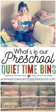 Quiet Time Bins For Preschoolers Naps are no more, but the kiddos (and mama) need a little rest. Full of fun, educational, and quiet activities for preschoolers. Quiet Time Activities, Preschool Learning Activities, Toddler Learning, At Home Toddler Activities, Toddler Fun, Preschool At Home, Preschool Toys, Preschool Schedule, Preschool Ideas