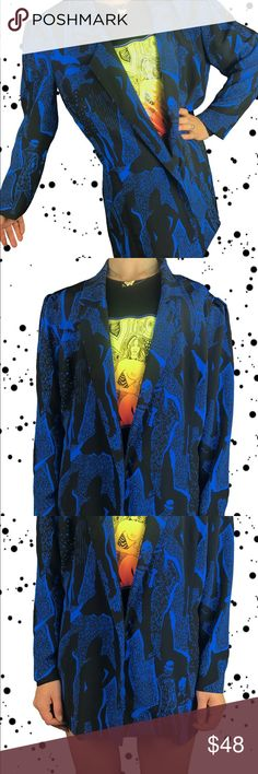 90s Y2k Blue Black Psychedelic Checkers Op Art Drawstring Top L