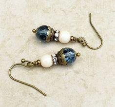 Blue Earrings Cream Earrings Dainty EarringsCzech by SmockandStone