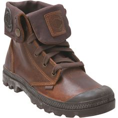 Palladium Women's Baggy Leather Sunrise Chocolate Boot ($125) ❤ liked on Polyvore featuring shoes, boots, brown, leather boots, fold-over boots, brown leather boots, lace up boots and army boots