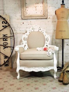 Painted Cottage Shabby White French Fancy Chair. $795.00, via Etsy.