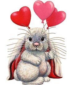 conejito con globos de corazòn