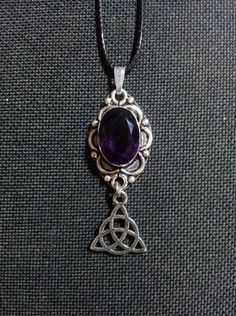 Triquetra Amethyst Necklace + Free Shipping Worldwide - Amethyst Necklace, Amethyst Crystal Jewelry, Triquetra Spiritual Celtic Jewelry by OurArtyCreations on Etsy