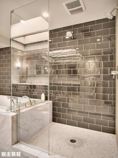 Decoration, The Charming White Ceramic Bathtub Design Combines With The Shiny Gray Subway Tile Mirrored Subway Tiles: Mirrored Subway Tiles ...