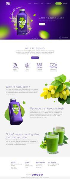 Goutham P Panicker on Behance Fruit Blender, Blender 3d, Web Layout, Layout Design, Web Design, What Is 100, Product Website, Green Grapes, Grape Juice