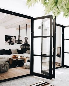 Modern Farmhouse Style Decorating Ideas On A Budget – Decorating Ideas - Home Decor Ideas and Tips - Page 15 Modern Farmhouse Exterior, Modern Farmhouse Style, Rustic Modern, Modern Entry, Modern Patio Doors, Modern Patio Design, Living Room Designs, Living Spaces, Living Rooms