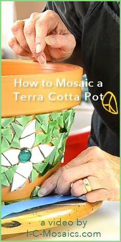 How to Mosaic a Terra Cotta Pot - Parts 1, 2 & 3 - These videos cover the first 3 things you should know before you mosaic a terra cotta pot; you learn how to beat gravity and how to prevent grout and tile from chipping; and important information about the type of grout, application, and other finishing touches for this pot.