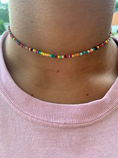 Tiny White Choker Necklace-Opaque Shiny White Bead Adj 14-15 Single Strand