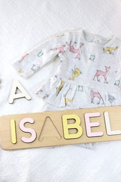 Name Puzzle Girl by WoodilyToys. Personalized Wooden Toy - God Daughter Gift - Montessori Kids puzzles. 1st Baby Christmas gift. Christmas gift baby girl. Custom name puzzle is the best wooden toy for a baby. Eco-friendly Montessori toys. Our Personalized custom name puzzles are designed to fuel imagination, inspire exploration and encourage natural curiosity. #busypuzzle #babygift