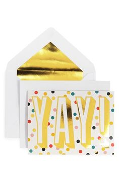 'Yay!' Foil-Embossed Note Cards
