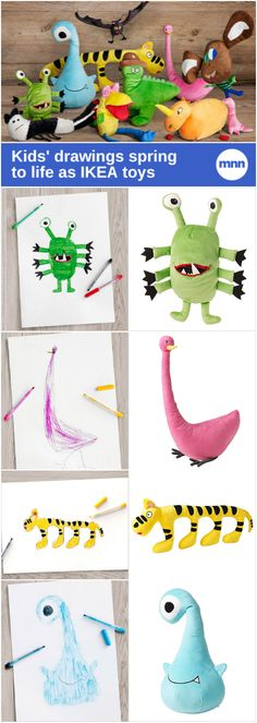 Kids aged 4 to 10 from all over the world submitted drawings that ranged from dinosaurs to monsters to cozy critters that stretched the imagination. IKEA chose 10 winners and turned them into real-life toys.