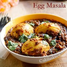 Spicy Egg Masala / Muttai Masala is a great side dish for a nor roti or chappathi or even Rice. Actually, I am not a big fan of egg and even, do not cook egg dishes so often in our family. But my hubby is a great fan of egg. Veg Recipes, Curry Recipes, Side Dish Recipes, Indian Food Recipes, Asian Recipes, Vegetarian Recipes, Chicken Recipes, Cooking Recipes, Healthy Recipes