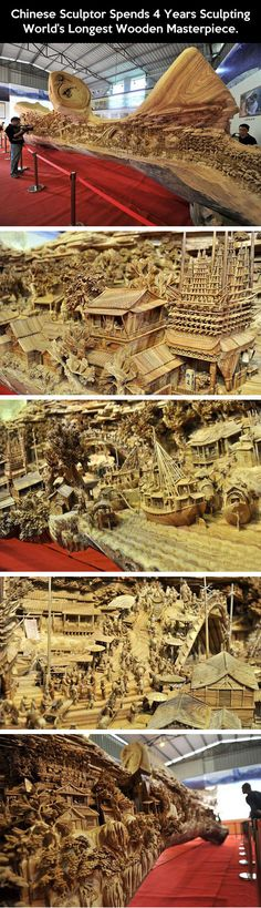 Funny pictures about World's longest wooden masterpiece. Oh, and cool pics about World's longest wooden masterpiece. Also, World's longest wooden masterpiece. Instalation Art, 3d Fantasy, Wow Art, Wood Sculpture, Clay Sculptures, Oeuvre D'art, Les Oeuvres, Amazing Art, Awesome