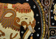 Thai Craft Warehouse - Large Thailand Hand Made Wall Hanging Beaded Elephant Art - Gold Yellow Would look amazing in our lounge