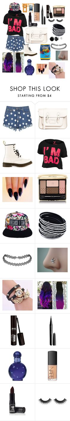 """""""#17"""" by abigail-jayne-booker on Polyvore featuring beauty, The Leather Satchel Co., Dr. Martens, Guerlain, Marc Jacobs, Britney Spears, NARS Cosmetics, Manic Panic and Hard Candy"""
