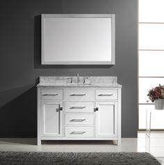 Virtu USA Caroline 48 Inch Single Square Sink Bathroom Vanity In White