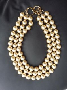 Vintage KJL Kenneth Jay Lane Pearl Necklace by GalleryThreeSixty