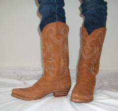 SOLD! THANK YOU! Vintage leather boots cowgirl honey colored by LilaCInspirations, $48.00