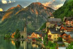 Lake Village, Hallstatt, Austria, on my bucket list of places to see! Places Around The World, Oh The Places You'll Go, Places To Travel, Places To Visit, Around The Worlds, Wonderful Places, Great Places, Beautiful Places, Dream Vacations